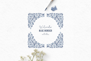 Print on Demand: Watercolor Floral Clipart in Blue Graphic Illustrations By Wallifyer