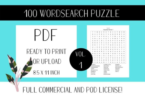 Print on Demand: Wordsearch Puzzle Book with Solutions V1 Graphic KDP Interiors By Fleur de Tango
