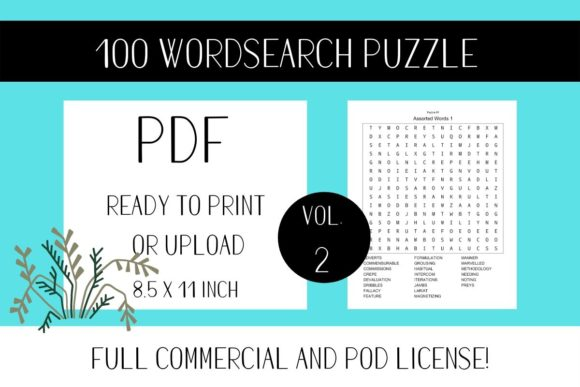 Print on Demand: Wordsearch Puzzle Book with Solutions V2 Graphic KDP Interiors By Fleur de Tango