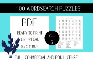 Print on Demand: Wordsearch Puzzle Book with Solutions V3 Graphic KDP Interiors By Fleur de Tango