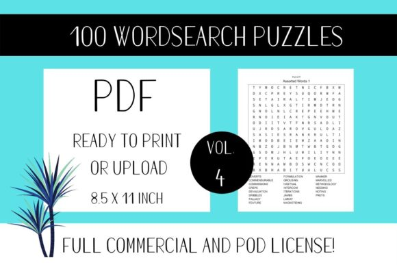 Print on Demand: Wordsearch Puzzle Book with Solutions V4 Graphic KDP Interiors By Fleur de Tango