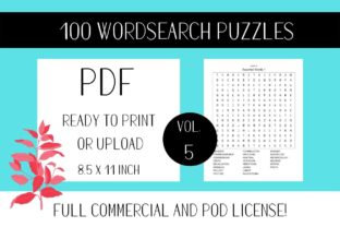 Print on Demand: Wordsearch Puzzle Book with Solutions V5 Graphic KDP Interiors By Fleur de Tango