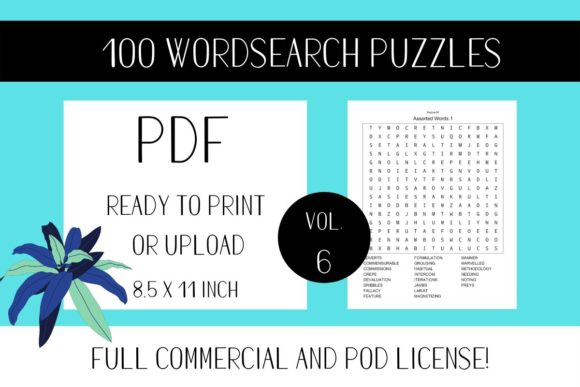 Print on Demand: Wordsearch Puzzle Book with Solutions V6 Graphic KDP Interiors By Fleur de Tango
