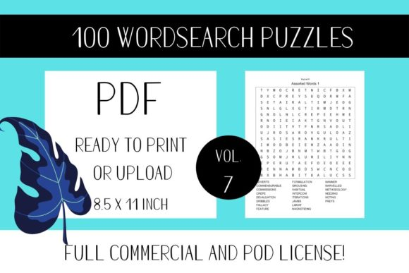 Print on Demand: Wordsearch Puzzle Book with Solutions V7 Graphic KDP Interiors By Fleur de Tango