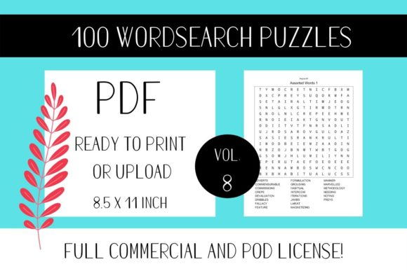 Print on Demand: Wordsearch Puzzle Book with Solutions V8 Graphic KDP Interiors By Fleur de Tango