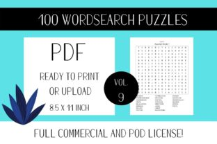 Print on Demand: Wordsearch Puzzle Book with Solutions V9 Graphic KDP Interiors By Fleur de Tango