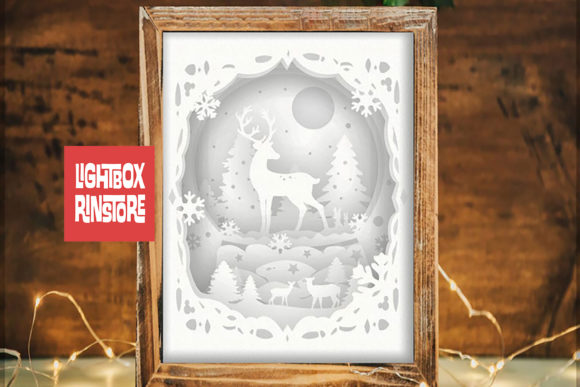X'mas Deer Spirit, 3D Paper Cut Lightbox Graphic 3D Christmas By lightbox.rinstore