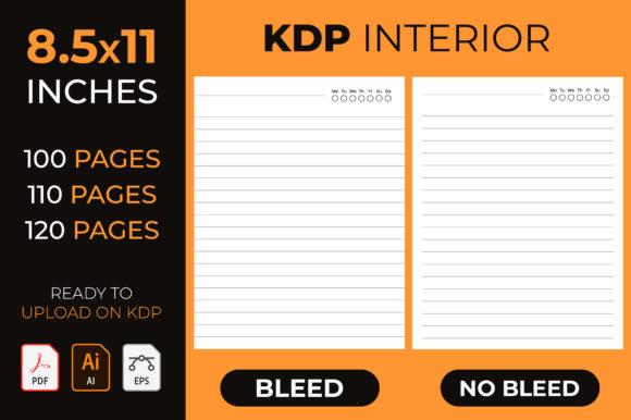 Kdp Interior, Lined Notebook Journal Graphic KDP Interiors By medelwardi