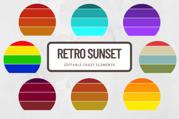 Print on Demand: Retro Sunset Background Clipart Grafik Plotterdateien von atlasart
