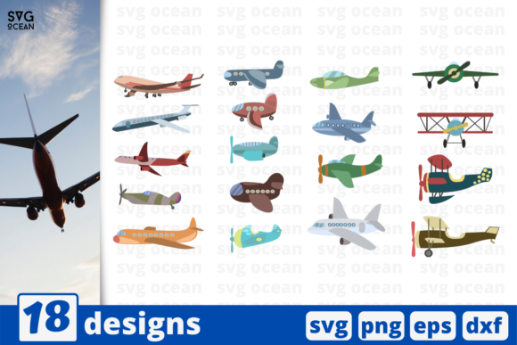 18 Airplane Designs Bundle Graphic Crafts By SvgOcean