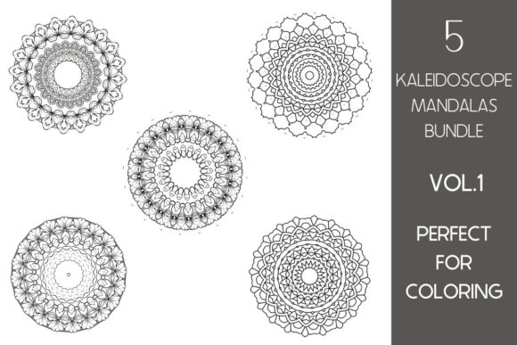 Print on Demand: 5 Kaleidoscope Mandalas BUNDLE Vol.1 Graphic Print Templates By Fleur de Tango