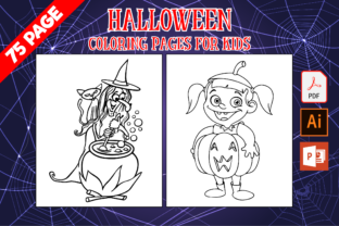 Print on Demand: 75 Halloween Coloring Pages for Kids Graphic Coloring Pages & Books Kids By MK DESIGNS