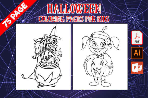 Print on Demand: 75 Halloween Coloring Pages for Kids Gráfico Coloring Pages & Books Kids Por MK DESIGNS