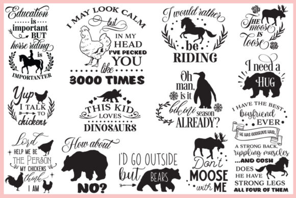 Animal Quotes Pack Graphic Download