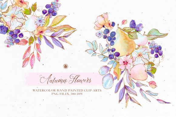 Print on Demand: Autumn Flowers - Watercolor Set Graphic Illustrations By webvilla