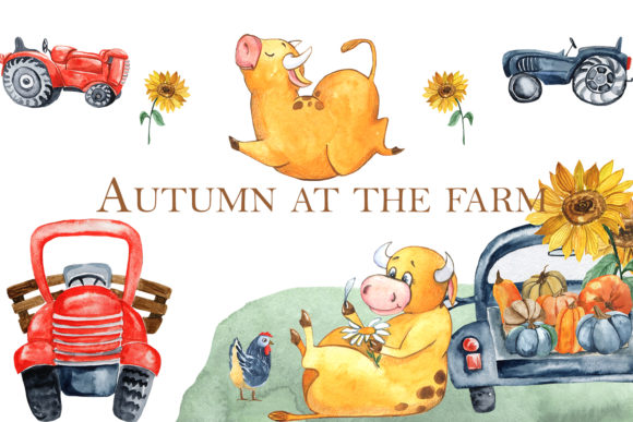 Print on Demand: Autumn at the Farm Graphic Illustrations By laffresco04