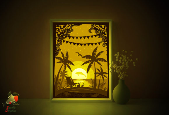 Beach Sea Tropical Light Box Template Graphic 3D Shadow Box By SweetieGraphics - Image 1