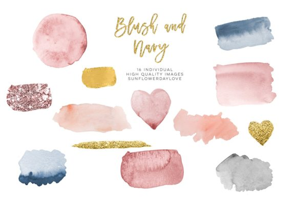 Print on Demand: Blush & Navy Watercolor Gold Design Graphic Illustrations By SunflowerLove