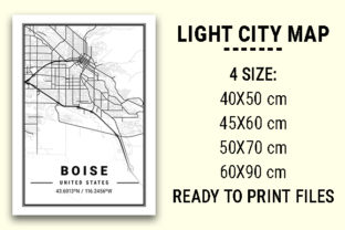 Print on Demand: Boise Light City Map Graphic Photos By tienstencil