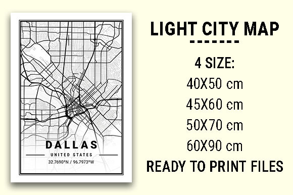 Print on Demand: Dallas Light City Map Graphic Photos By tienstencil