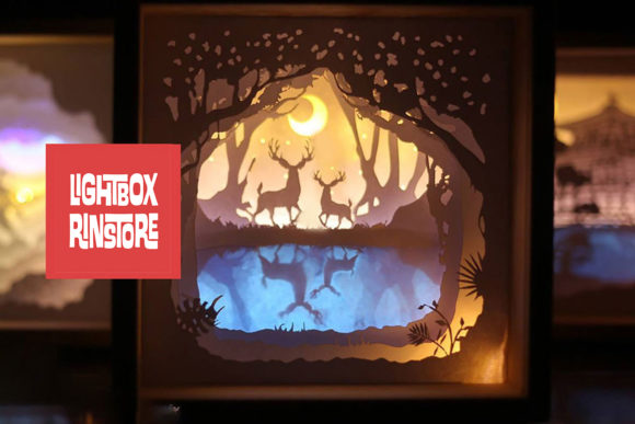Deer Spirit 3D Paper Cut Lightbox Graphic 3D Shadow Box By lightbox.rinstore