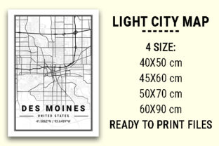 Print on Demand: Des Moines Light City Map Graphic Photos By tienstencil