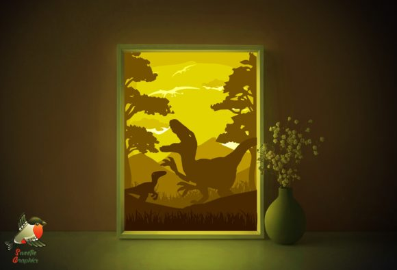 Dinosaur T-rex Light Box Template SVG Graphic 3D Shadow Box By SweetieGraphics