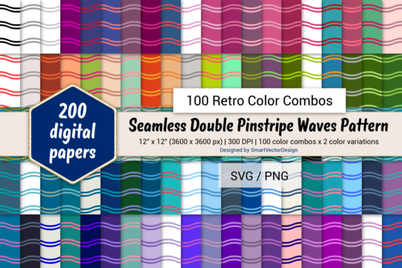 Print on Demand: Double Pinstripe Waves-100 Retro Combos Graphic Backgrounds By SmartVectorDesign