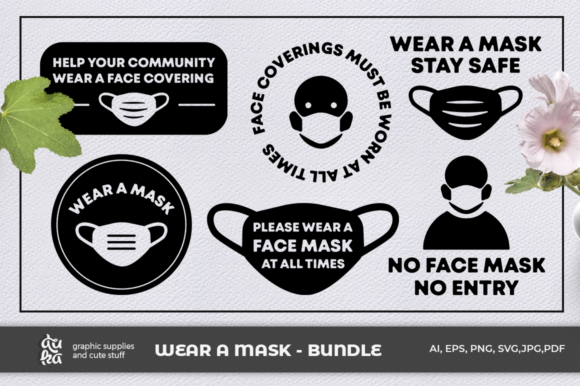 Print on Demand: Face Mask Bundle Graphic Illustrations By duka