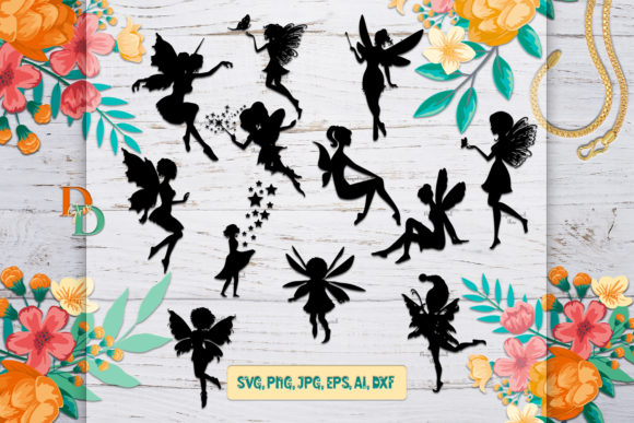 Fairies Silhouettes Gráfico Crafts Por denysdigitalshop