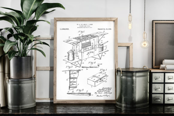 Print on Demand: Folding Camp Stove 1922 Patent Poster Graphic Illustrations By Antique Pixls