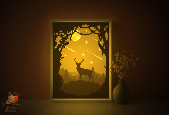 Forest Moon Deer Light Box Template Graphic 3D Shadow Box By SweetieGraphics