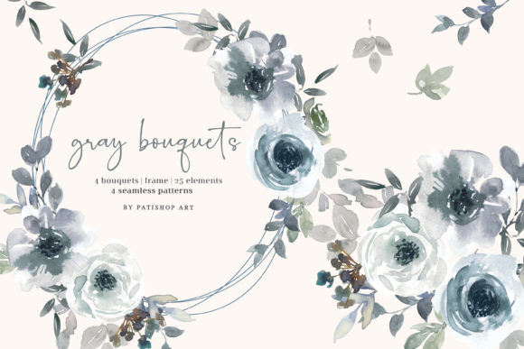 Gray and White Watercolor Florals Graphic Illustrations By Patishop Art
