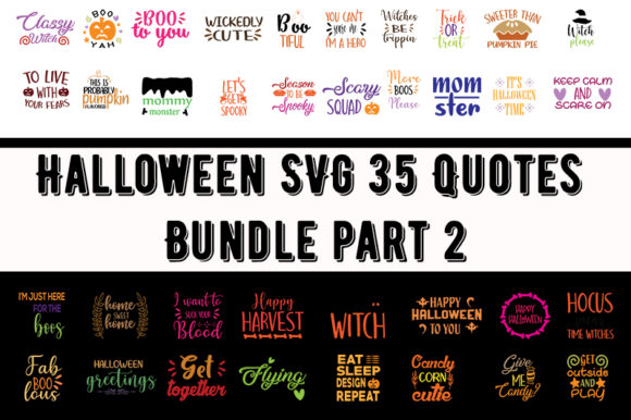 Print on Demand: Halloween 35 Quotes Bundle Part 2 Graphic Print Templates By Design_store