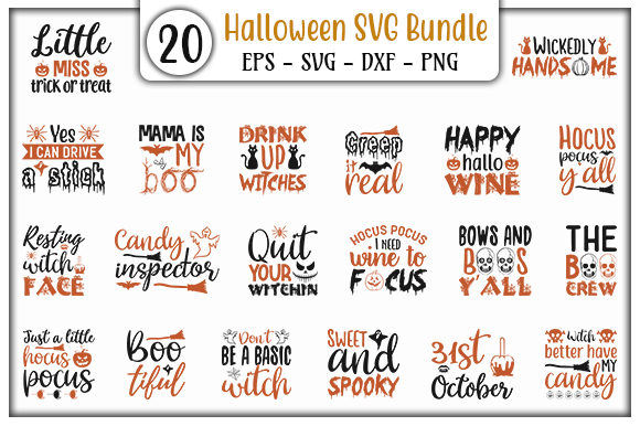 Print on Demand: Halloween Quotes Bundle Graphic Print Templates By GraphicsBooth