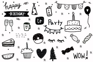 Print on Demand: Hand Drawn Doodle Elements Birthday Graphic Illustrations By Zweed n roll Clipart