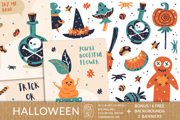 Print on Demand: Happy Halloween. Vector Prints, Stickers Graphic Illustrations By FoxBiz
