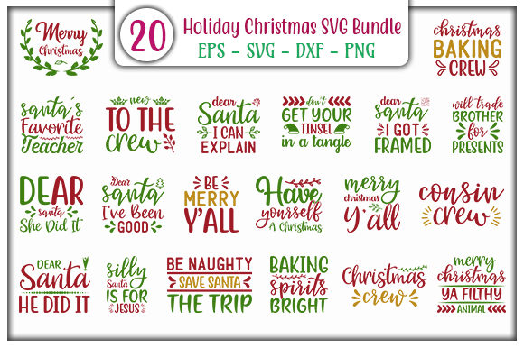 Print on Demand: Holiday Christmas Design Bundle Graphic Print Templates By GraphicsBooth