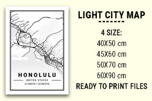 Print on Demand: Honolulu Light City Map Graphic Photos By tienstencil