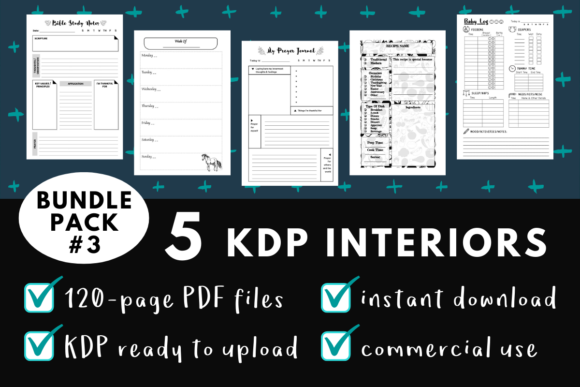 Print on Demand: KDP Interior Pack #3 - 5 Templates! Graphic KDP Interiors By mothmos