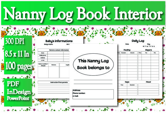 Print on Demand: KDP Nanny Log Book Interior Graphic KDP Interiors By Ivana Prue