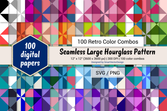 Print on Demand: Large Hourglass Paper - 100 Retro Combos Graphic Backgrounds By SmartVectorDesign