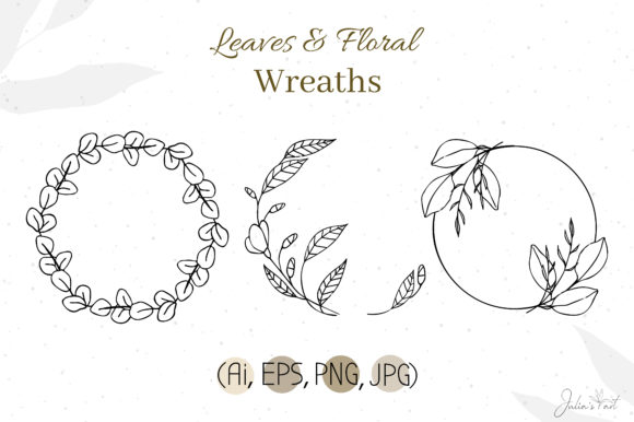Leaves Floral Wreaths Graphic Illustrations By Juliasart