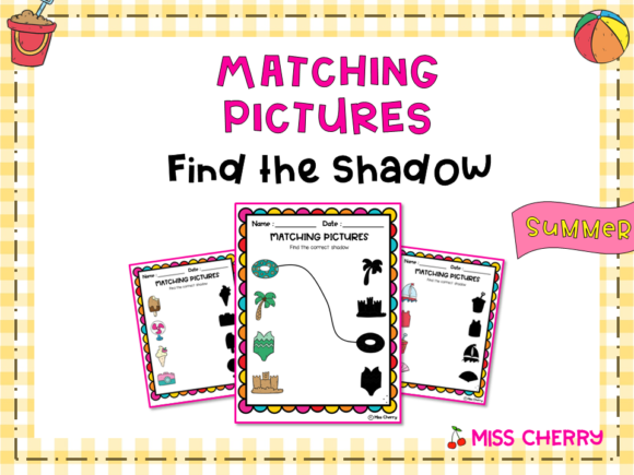 Matching Pictures - Find the Shadow Graphic PreK By Miss Cherry Designs