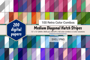 Print on Demand: Med Diag Hatch Stripes-100 Retro Combos Graphic Backgrounds By SmartVectorDesign