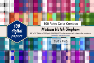 Print on Demand: Medium Hatch Gingham - 100 Retro Combos Graphic Backgrounds By SmartVectorDesign