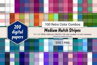 Print on Demand: Medium Hatch Stripes - 100 Retro Combos Graphic Backgrounds By SmartVectorDesign