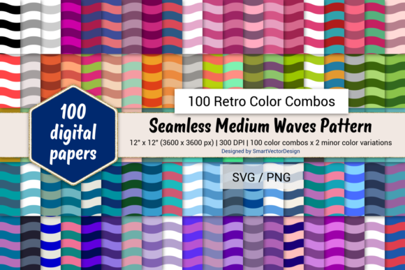 Print on Demand: Medium Waves Paper - 100 Retro Combos Graphic Backgrounds By SmartVectorDesign