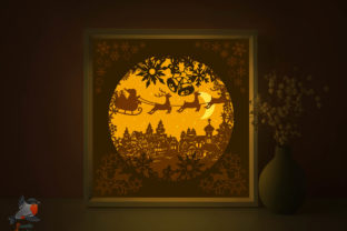 Merry Christmas X-Mas Lightbox Template Graphic 3D Shadow Box By SweetieGraphics