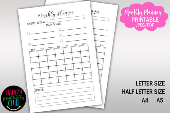 Print on Demand: Monthly Planner Printable Undated Graphic Print Templates By Happy Printables Club